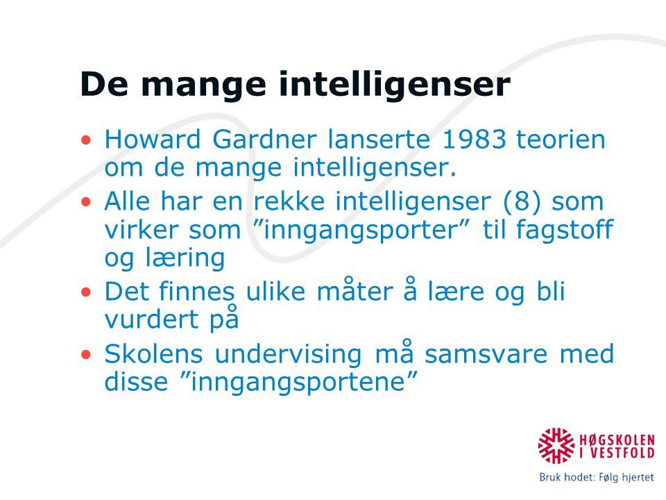 """De mange intelligenser Howard Gardner lanserte 1983 teorien om de mange intelligenser. Alle har en rekke intelligenser (8) som virker som """"inngangspor"""