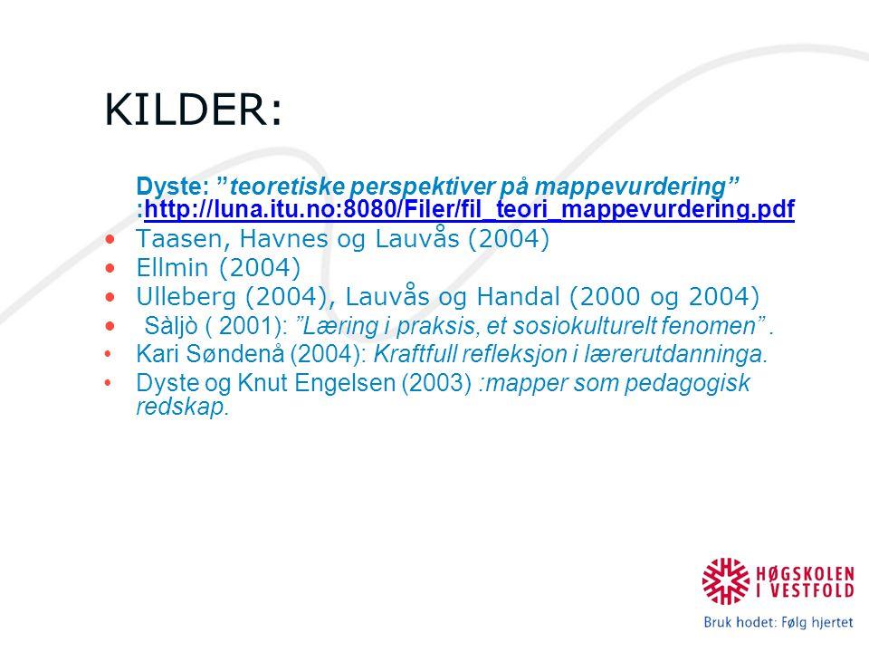 """KILDER: Dyste: """"teoretiske perspektiver på mappevurdering"""" :http://luna.itu.no:8080/Filer/fil_teori_mappevurdering.pdf Taasen, Havnes og Lauvås (2004)"""