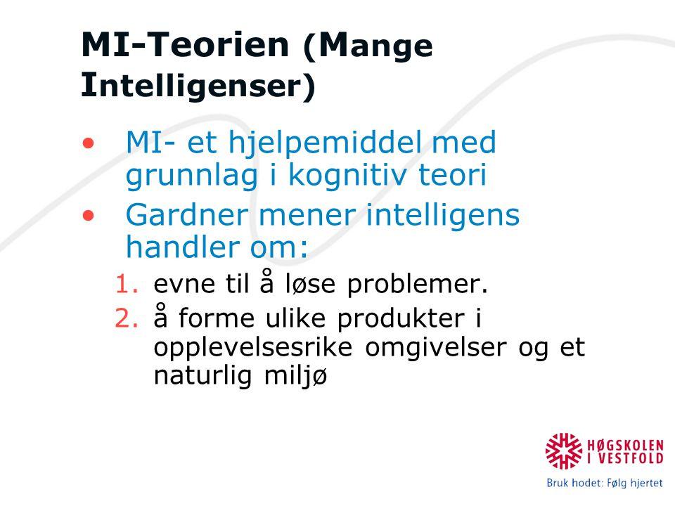 MI-Teorien ( M ange I ntelligenser) MI- et hjelpemiddel med grunnlag i kognitiv teori Gardner mener intelligens handler om: 1.evne til å løse probleme