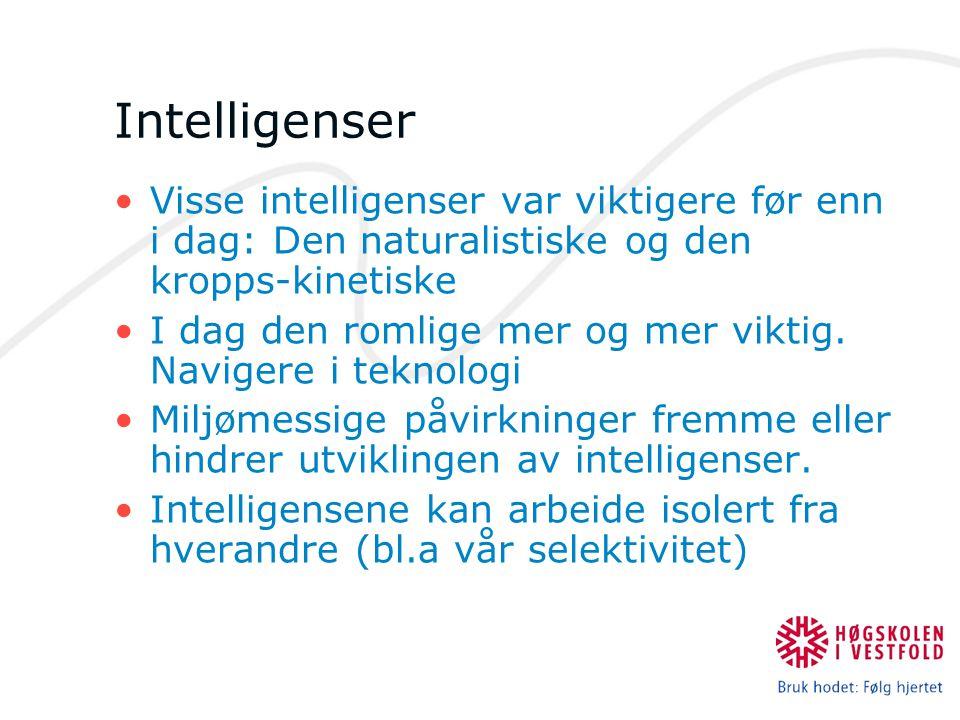 Intelligenser Visse intelligenser var viktigere før enn i dag: Den naturalistiske og den kropps-kinetiske I dag den romlige mer og mer viktig. Naviger