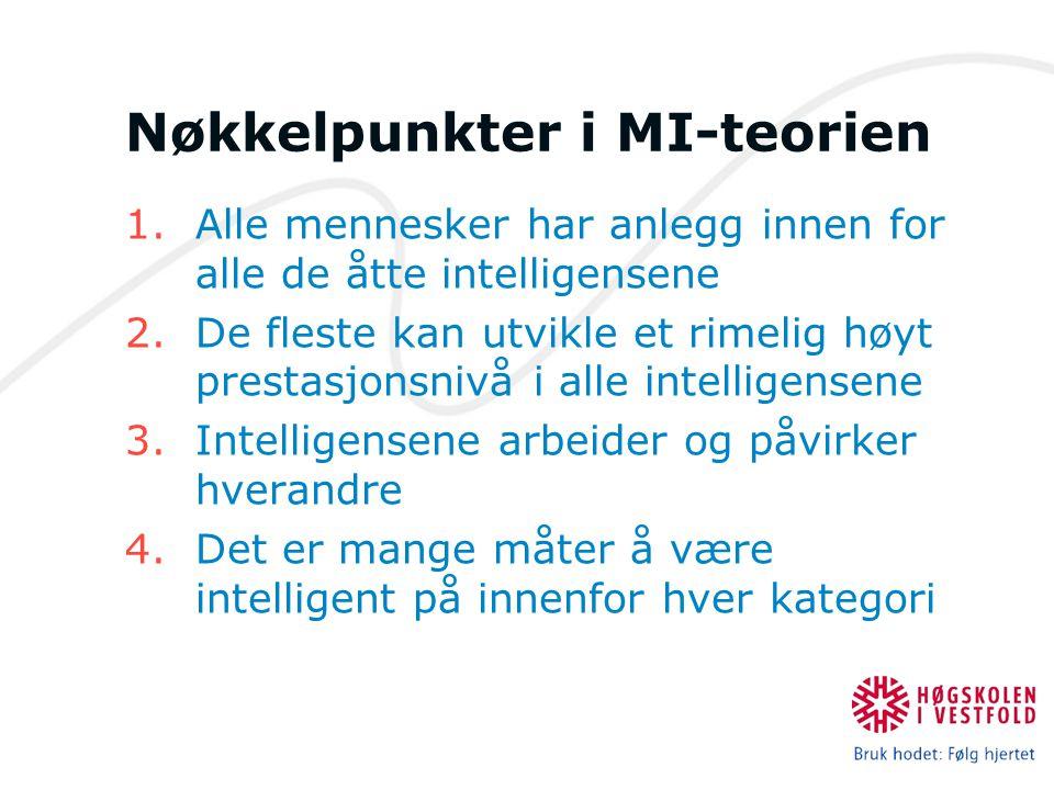 Nøkkelpunkter i MI-teorien 1.Alle mennesker har anlegg innen for alle de åtte intelligensene 2.De fleste kan utvikle et rimelig høyt prestasjonsnivå i