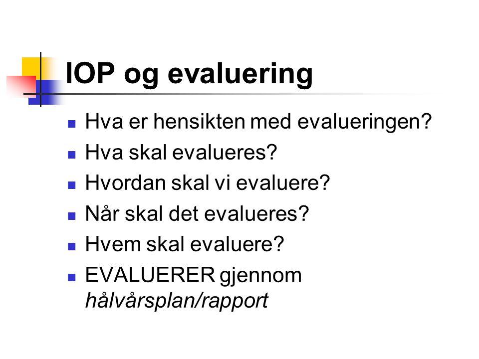 IOP og evaluering Hva er hensikten med evalueringen? Hva skal evalueres? Hvordan skal vi evaluere? Når skal det evalueres? Hvem skal evaluere? EVALUER