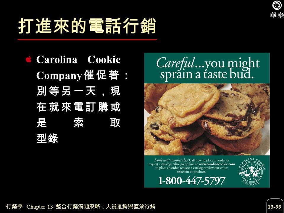 行銷學 Chapter 13 整合行銷溝通策略:人員推銷與直效行銷 13-33 打進來的電話行銷 Carolina Cookie Company 催促著: 別等另一天,現 在就來電訂購或 是索取 型錄