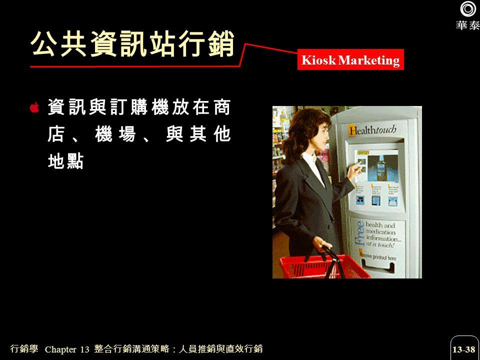 行銷學 Chapter 13 整合行銷溝通策略:人員推銷與直效行銷 13-38 公共資訊站行銷 資訊與訂購機放在商 店、機場、與其他 地點 Kiosk Marketing