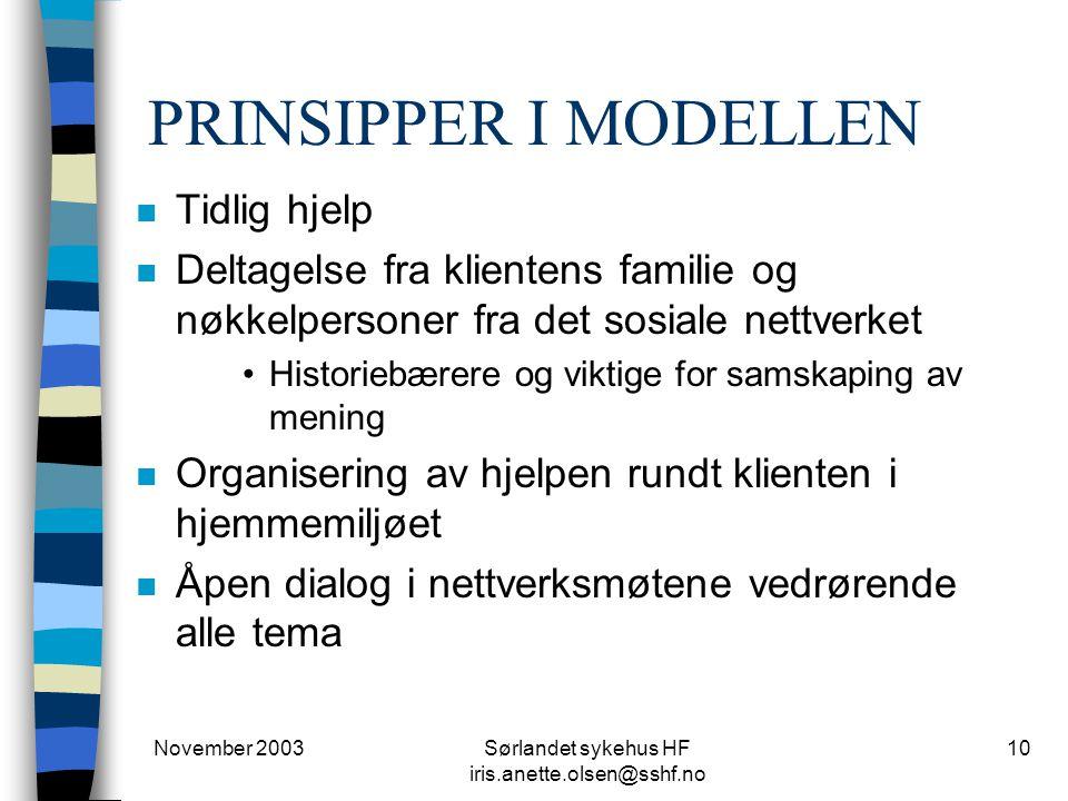 November 2003Sørlandet sykehus HF iris.anette.olsen@sshf.no 10 PRINSIPPER I MODELLEN n Tidlig hjelp n Deltagelse fra klientens familie og nøkkelperson