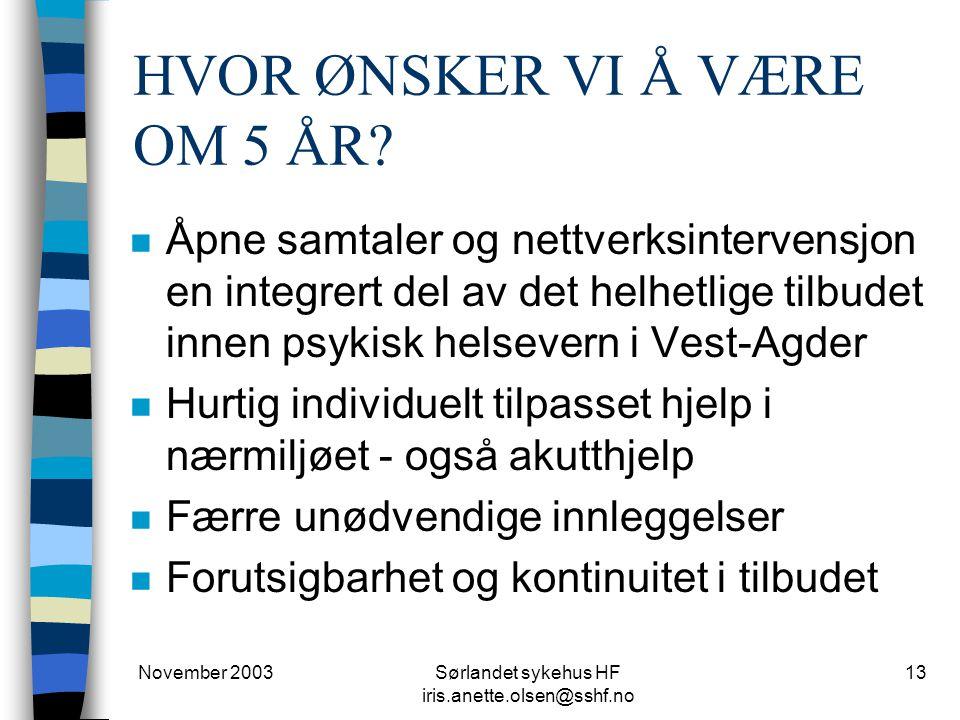 November 2003Sørlandet sykehus HF iris.anette.olsen@sshf.no 13 HVOR ØNSKER VI Å VÆRE OM 5 ÅR? n Åpne samtaler og nettverksintervensjon en integrert de