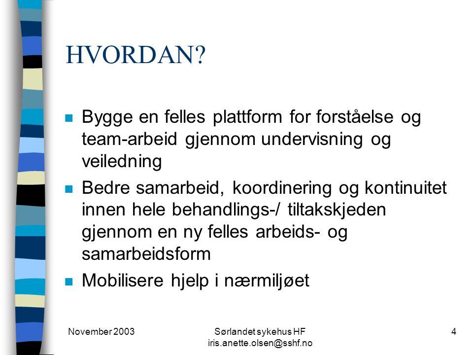 November 2003Sørlandet sykehus HF iris.anette.olsen@sshf.no 4 HVORDAN? n Bygge en felles plattform for forståelse og team-arbeid gjennom undervisning