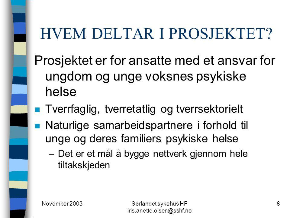 November 2003Sørlandet sykehus HF iris.anette.olsen@sshf.no 8 HVEM DELTAR I PROSJEKTET? Prosjektet er for ansatte med et ansvar for ungdom og unge vok
