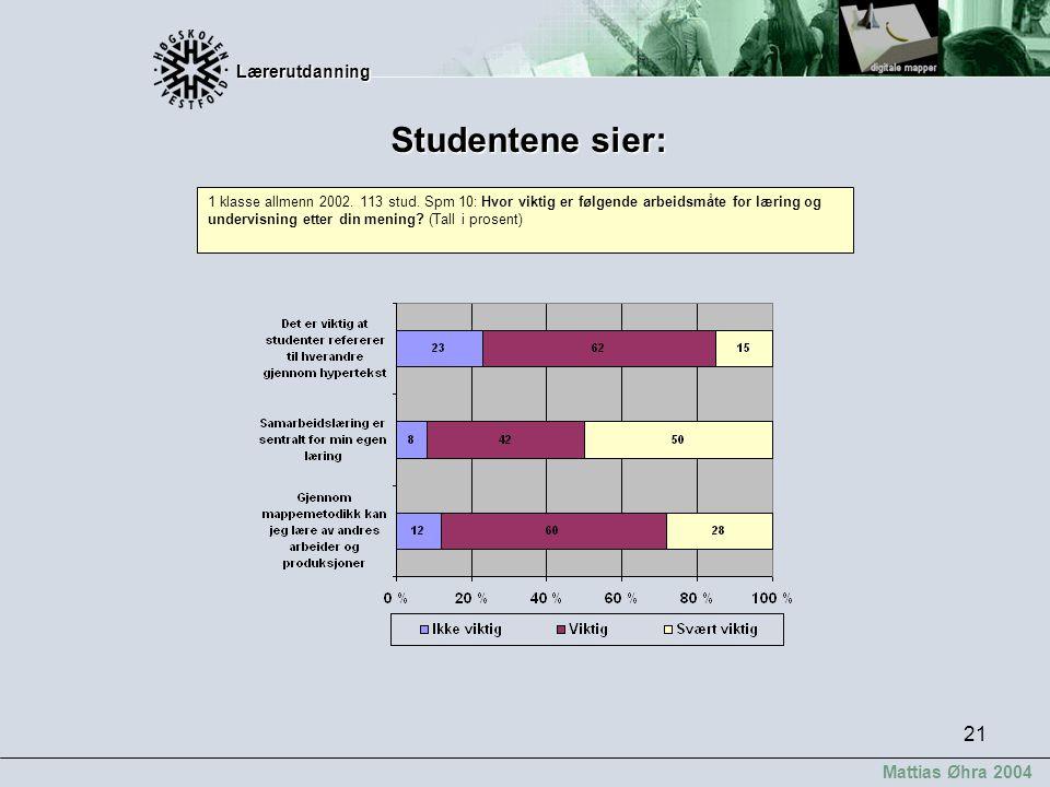 Lærerutdanning Lærerutdanning Mattias Øhra 2004 21 Studentene sier: 1 klasse allmenn 2002. 113 stud. Spm 10: Hvor viktig er følgende arbeidsmåte for l