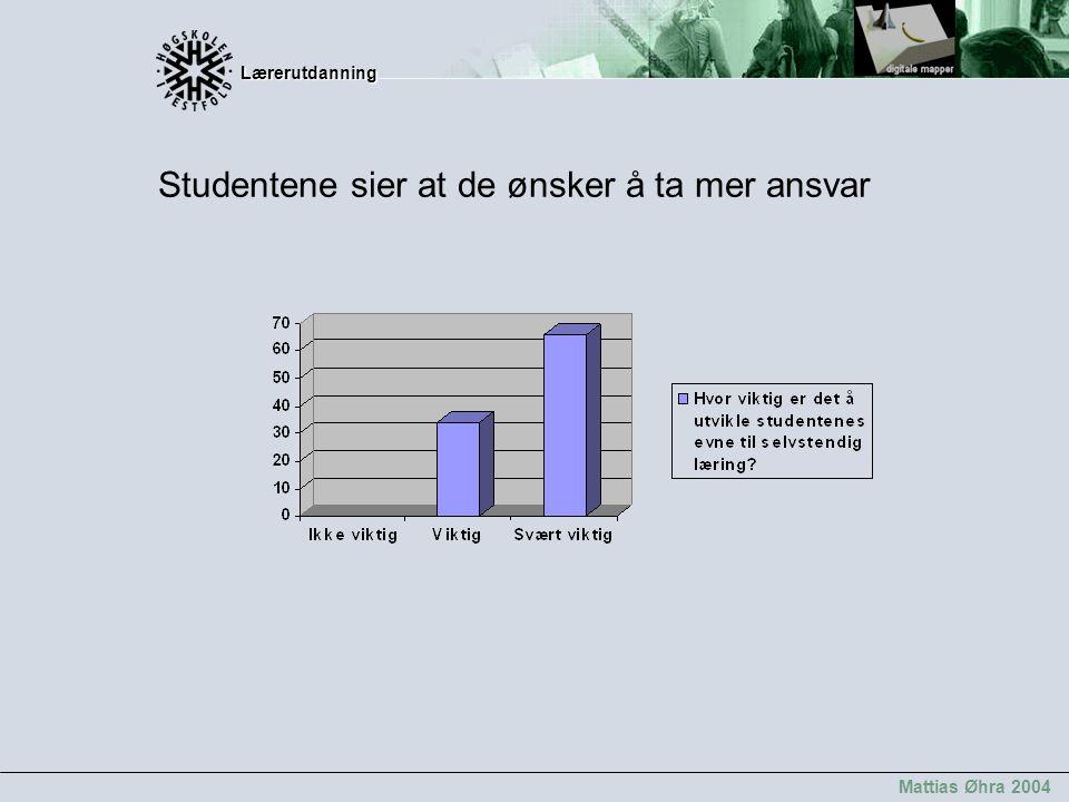 Lærerutdanning Lærerutdanning Mattias Øhra 2004 Studentene sier at de ønsker å ta mer ansvar