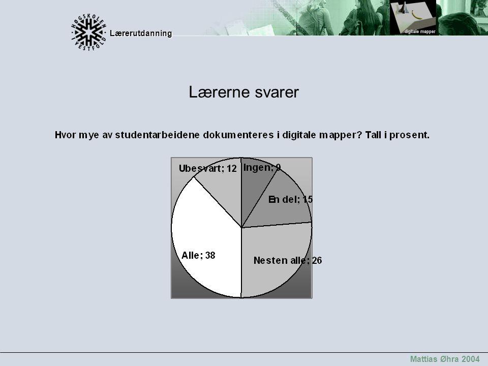 Lærerutdanning Lærerutdanning Mattias Øhra 2004 Lærerne svarer
