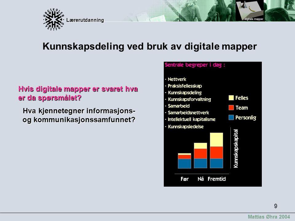 Lærerutdanning Lærerutdanning Mattias Øhra 2004 9 Kunnskapsdeling ved bruk av digitale mapper Hvis digitale mapper er svaret hva er da spørsmålet? Hva