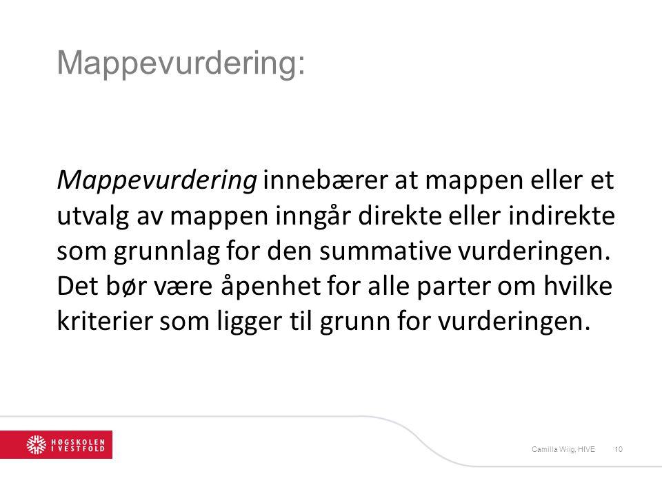 Mappevurdering: Mappevurdering innebærer at mappen eller et utvalg av mappen inngår direkte eller indirekte som grunnlag for den summative vurderingen.