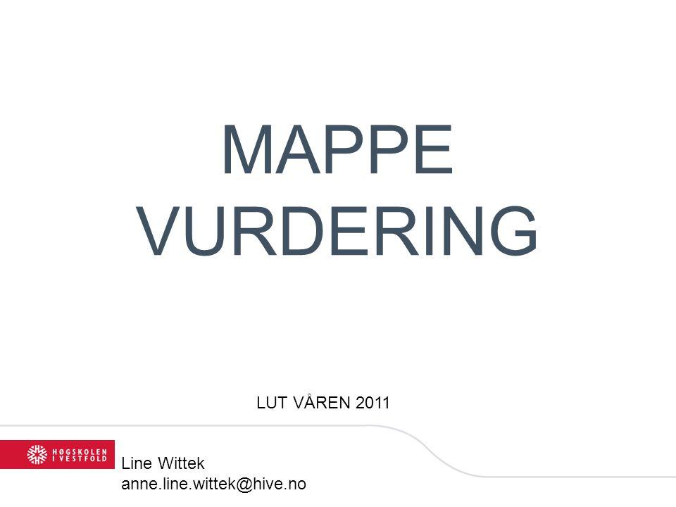 MAPPE VURDERING LUT VÅREN 2011 Line Wittek anne.line.wittek@hive.no