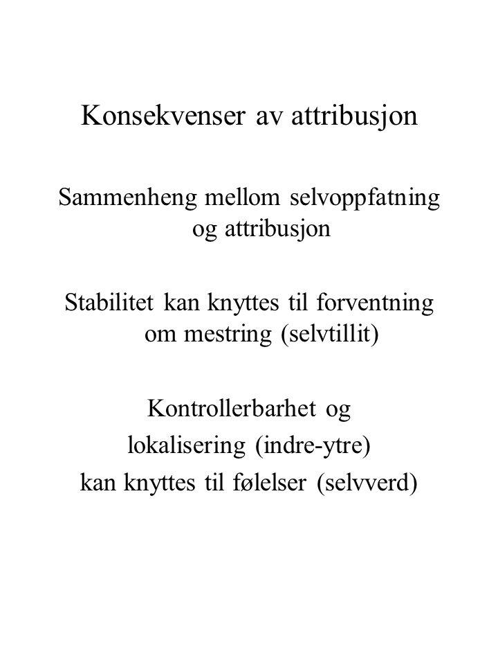 Konsekvenser av attribusjon Sammenheng mellom selvoppfatning og attribusjon Stabilitet kan knyttes til forventning om mestring (selvtillit) Kontroller
