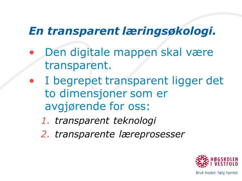 En transparent læringsøkologi. Den digitale mappen skal være transparent. I begrepet transparent ligger det to dimensjoner som er avgjørende for oss: