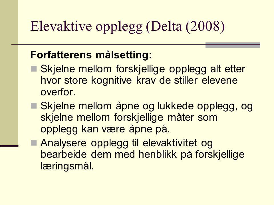 Elevaktive opplegg (Delta (2008) Forfatterens målsetting: Skjelne mellom forskjellige opplegg alt etter hvor store kognitive krav de stiller elevene o