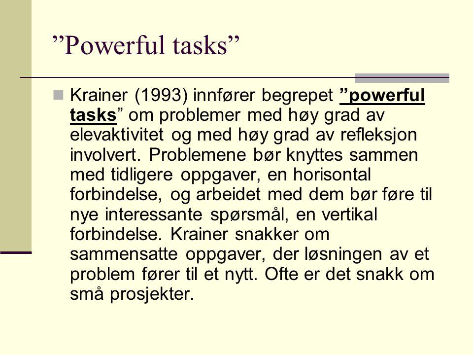 """""""Powerful tasks"""" Krainer (1993) innfører begrepet """"powerful tasks"""" om problemer med høy grad av elevaktivitet og med høy grad av refleksjon involvert."""