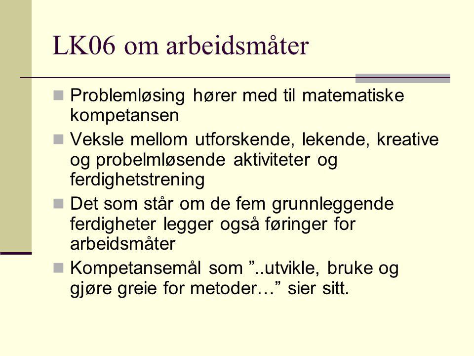 LK06 om arbeidsmåter Problemløsing hører med til matematiske kompetansen Veksle mellom utforskende, lekende, kreative og probelmløsende aktiviteter og