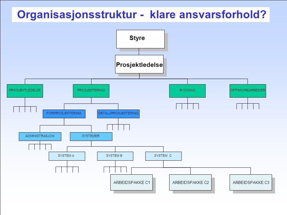 Organisasjonsstruktur - klare ansvarsforhold.