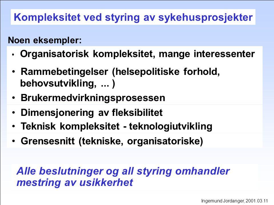Kostnadsestimat - kostnad totalt Ingemund Jordanger, 2001.03.11
