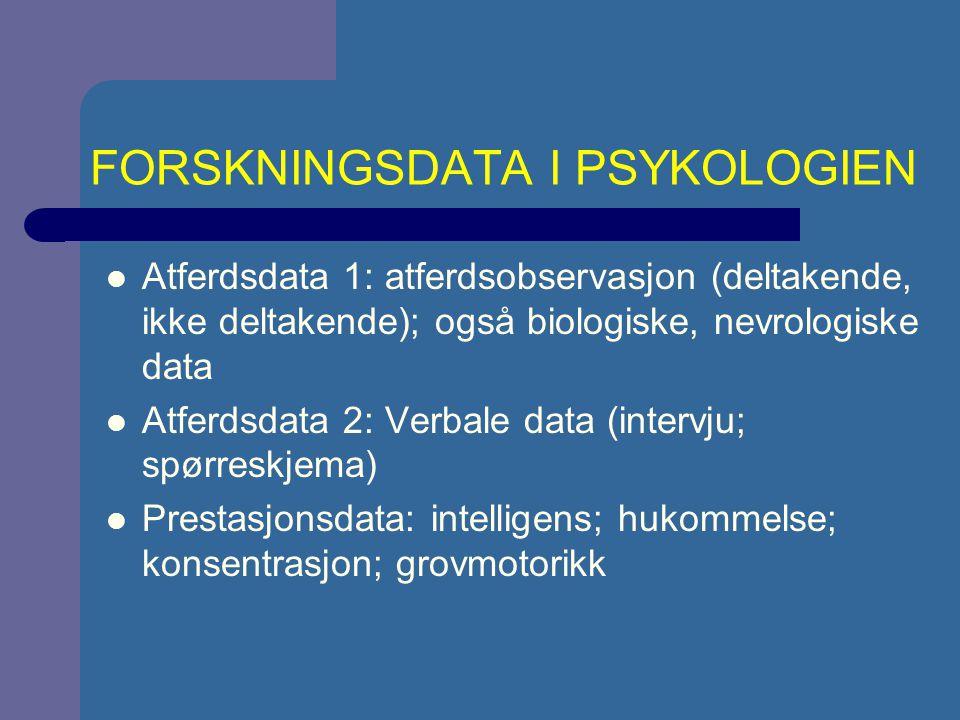 FORSKNINGSDATA I PSYKOLOGIEN Atferdsdata 1: atferdsobservasjon (deltakende, ikke deltakende); også biologiske, nevrologiske data Atferdsdata 2: Verbale data (intervju; spørreskjema) Prestasjonsdata: intelligens; hukommelse; konsentrasjon; grovmotorikk