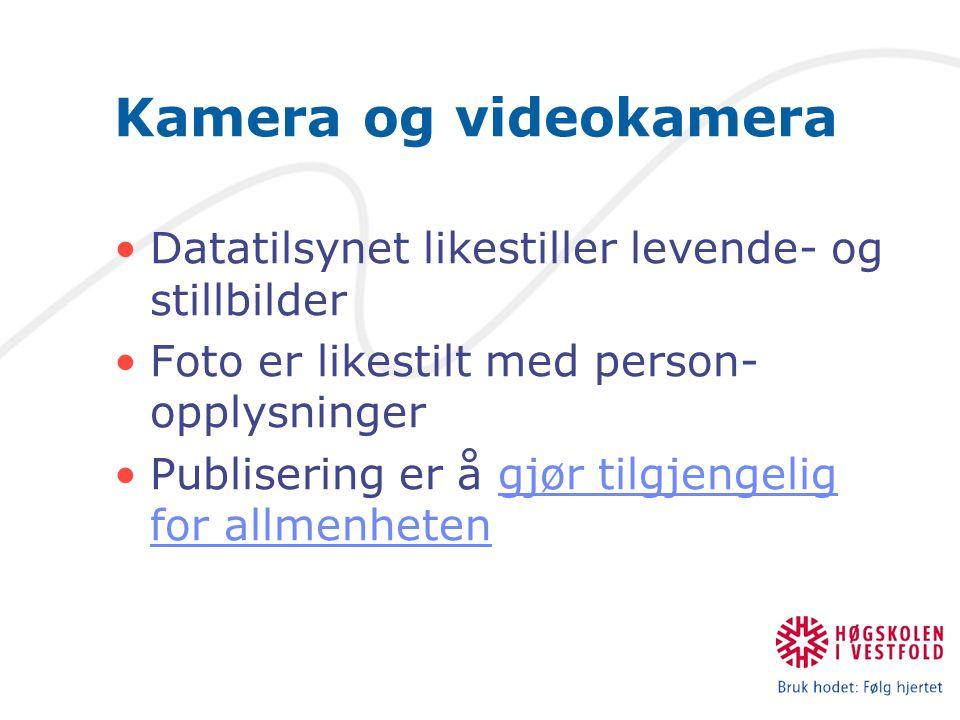 Kamera og videokamera Datatilsynet likestiller levende- og stillbilder Foto er likestilt med person- opplysninger Publisering er å gjør tilgjengelig for allmenhetengjør tilgjengelig for allmenheten