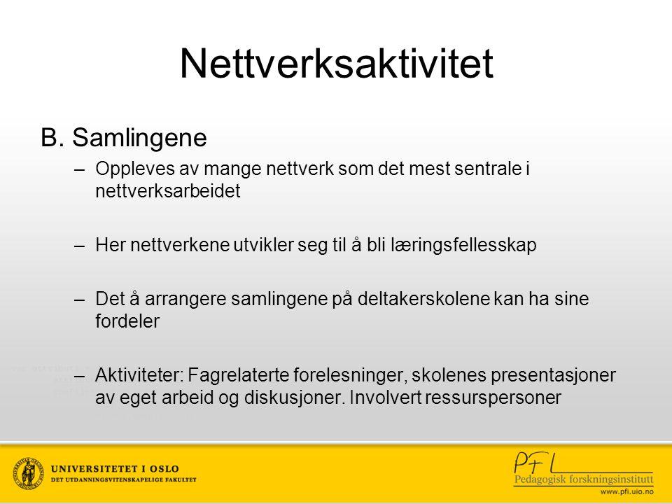 Nettverksaktivitet B. Samlingene –Oppleves av mange nettverk som det mest sentrale i nettverksarbeidet –Her nettverkene utvikler seg til å bli lærings