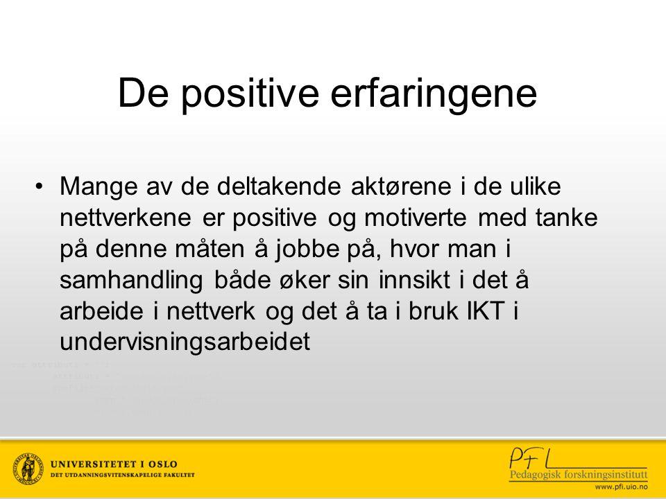 De positive erfaringene Mange av de deltakende aktørene i de ulike nettverkene er positive og motiverte med tanke på denne måten å jobbe på, hvor man i samhandling både øker sin innsikt i det å arbeide i nettverk og det å ta i bruk IKT i undervisningsarbeidet