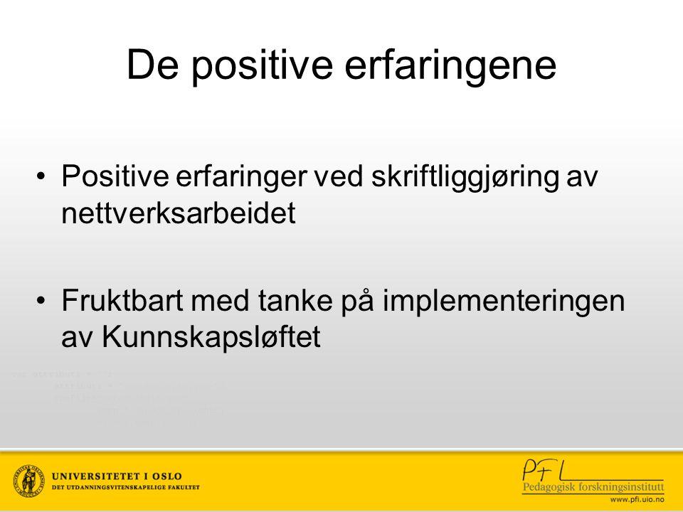 De positive erfaringene Positive erfaringer ved skriftliggjøring av nettverksarbeidet Fruktbart med tanke på implementeringen av Kunnskapsløftet