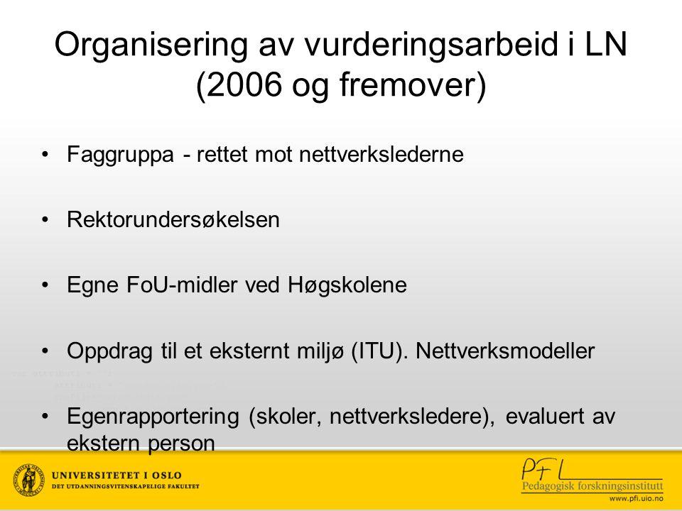 Organisering av vurderingsarbeid i LN (2006 og fremover) Faggruppa - rettet mot nettverkslederne Rektorundersøkelsen Egne FoU-midler ved Høgskolene Oppdrag til et eksternt miljø (ITU).
