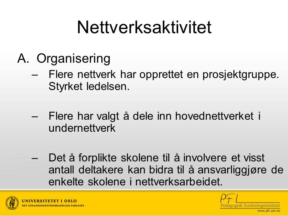 Nettverksaktivitet A.Organisering –Flere nettverk har opprettet en prosjektgruppe. Styrket ledelsen. –Flere har valgt å dele inn hovednettverket i und