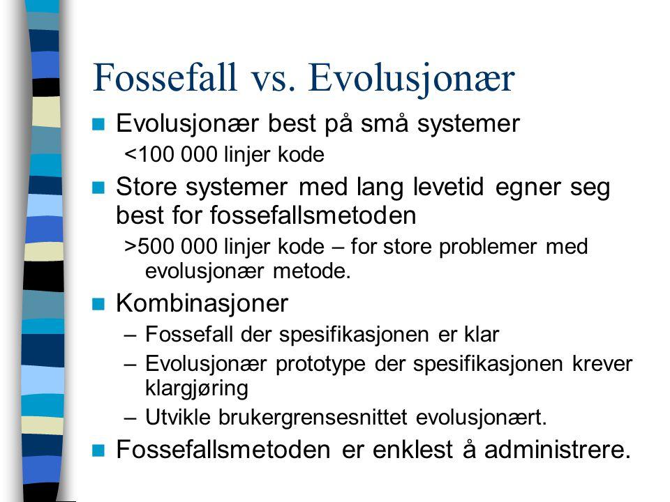 Fossefall vs. Evolusjonær Evolusjonær best på små systemer <100 000 linjer kode Store systemer med lang levetid egner seg best for fossefallsmetoden >