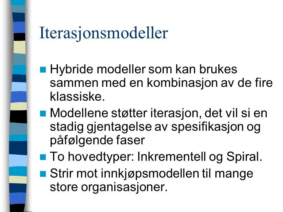 Iterasjonsmodeller Hybride modeller som kan brukes sammen med en kombinasjon av de fire klassiske. Modellene støtter iterasjon, det vil si en stadig g