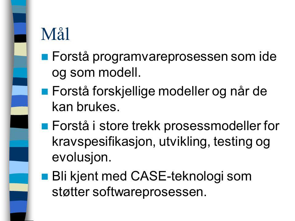 Mål Forstå programvareprosessen som ide og som modell. Forstå forskjellige modeller og når de kan brukes. Forstå i store trekk prosessmodeller for kra
