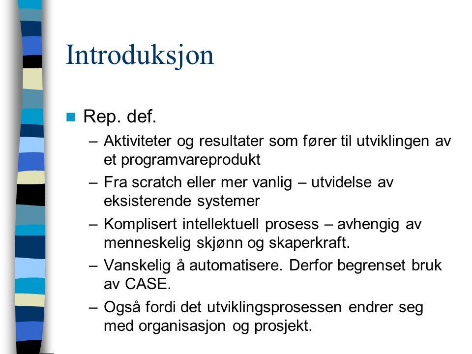 Introduksjon Rep. def. –Aktiviteter og resultater som fører til utviklingen av et programvareprodukt –Fra scratch eller mer vanlig – utvidelse av eksi