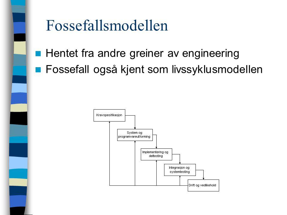 Fossefallsmodellen Hentet fra andre greiner av engineering Fossefall også kjent som livssyklusmodellen