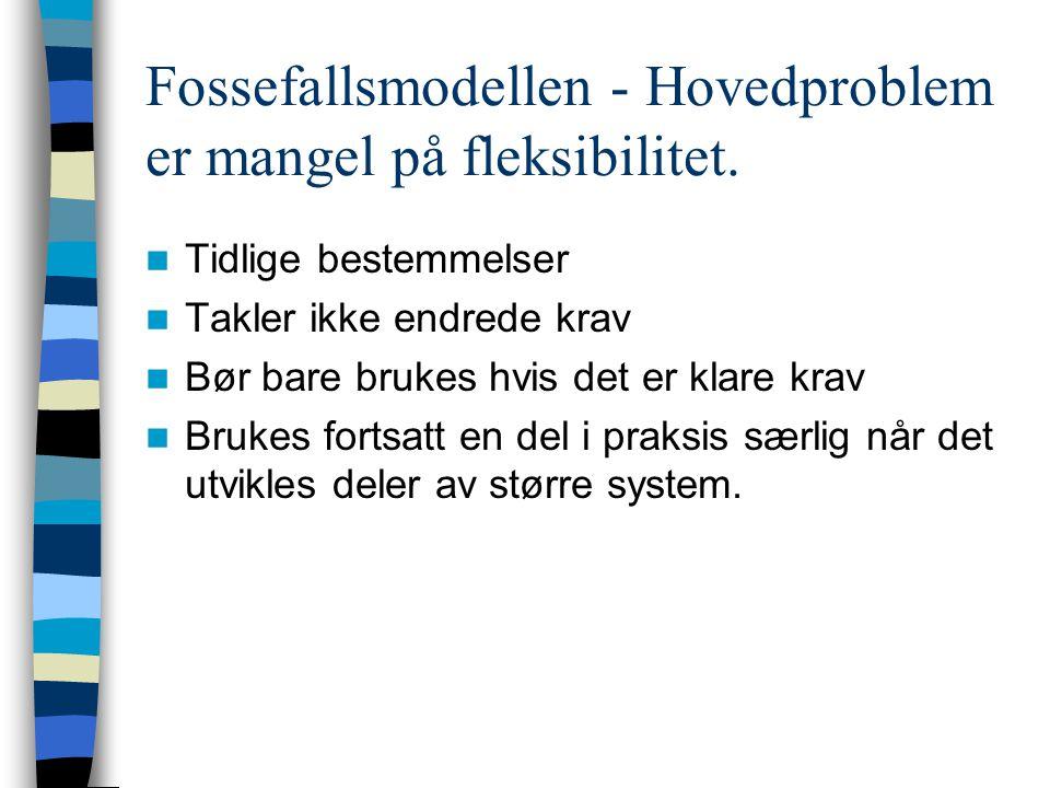 Fossefallsmodellen - Hovedproblem er mangel på fleksibilitet. Tidlige bestemmelser Takler ikke endrede krav Bør bare brukes hvis det er klare krav Bru
