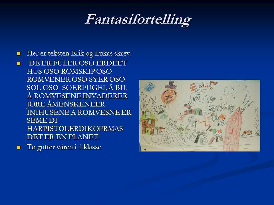 Fantasifortelling Her er teksten Erik og Lukas skrev.