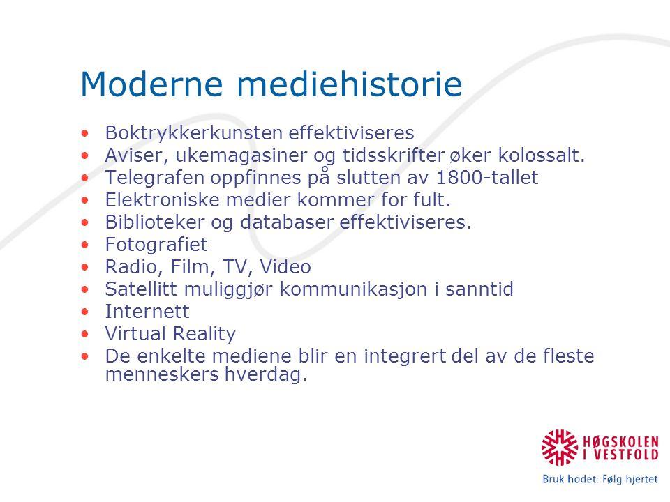Moderne mediehistorie Boktrykkerkunsten effektiviseres Aviser, ukemagasiner og tidsskrifter øker kolossalt.