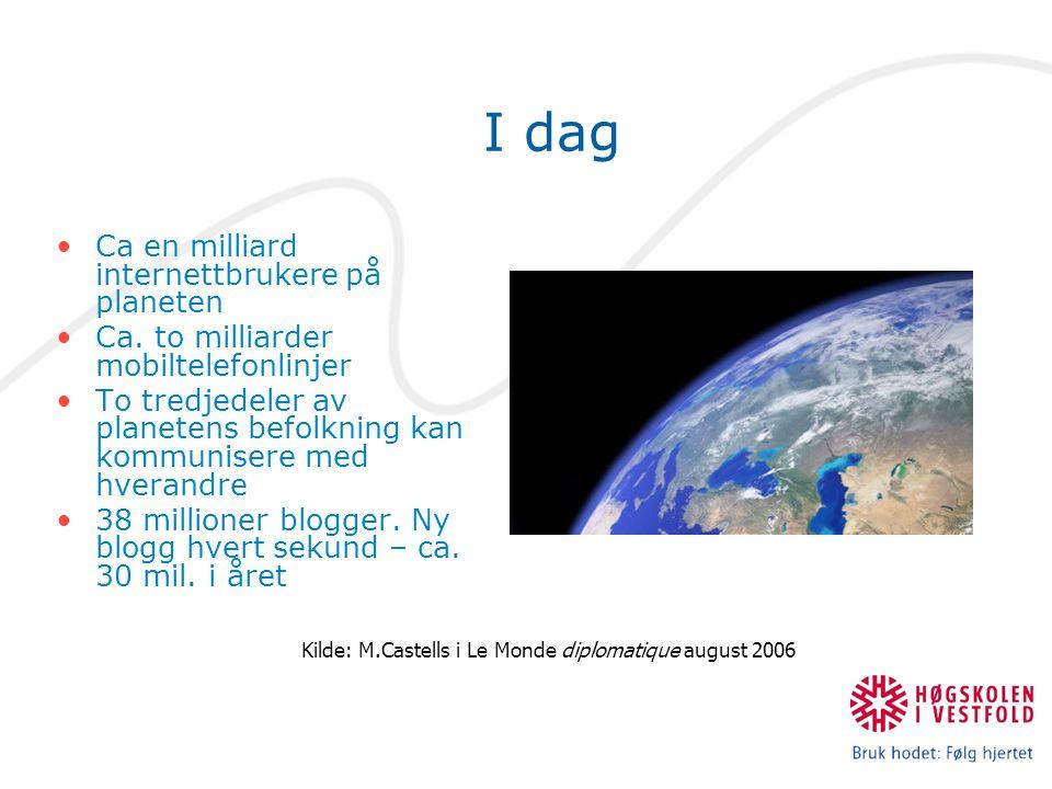 I dag Ca en milliard internettbrukere på planeten Ca.