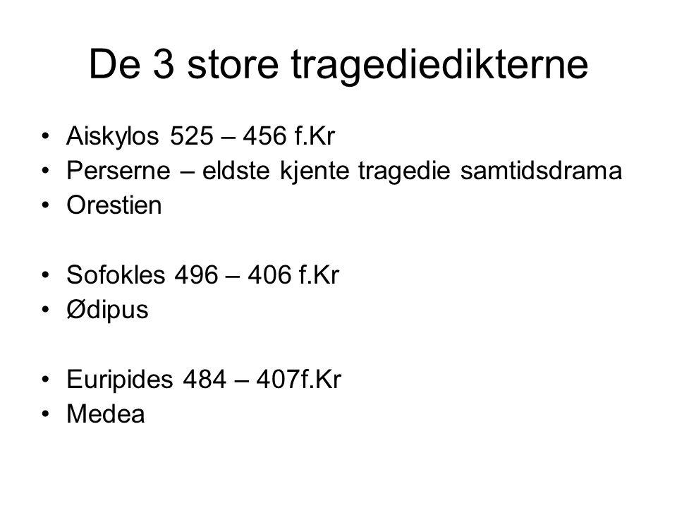 De 3 store tragediedikterne Aiskylos 525 – 456 f.Kr Perserne – eldste kjente tragedie samtidsdrama Orestien Sofokles 496 – 406 f.Kr Ødipus Euripides 4