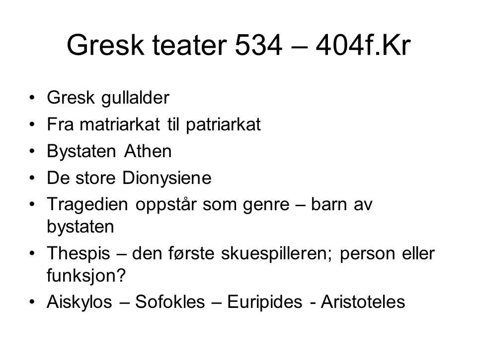 Gresk teater 534 – 404f.Kr Gresk gullalder Fra matriarkat til patriarkat Bystaten Athen De store Dionysiene Tragedien oppstår som genre – barn av byst