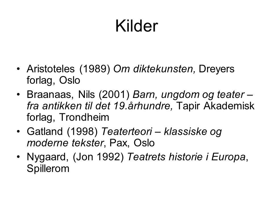 Kilder Aristoteles (1989) Om diktekunsten, Dreyers forlag, Oslo Braanaas, Nils (2001) Barn, ungdom og teater – fra antikken til det 19.århundre, Tapir