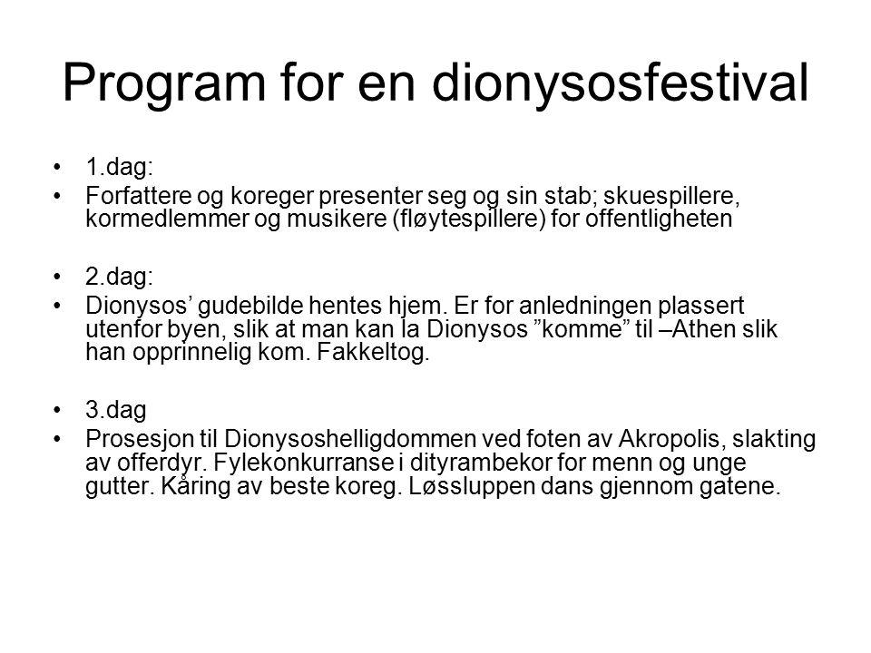 Program for en dionysosfestival 1.dag: Forfattere og koreger presenter seg og sin stab; skuespillere, kormedlemmer og musikere (fløytespillere) for of