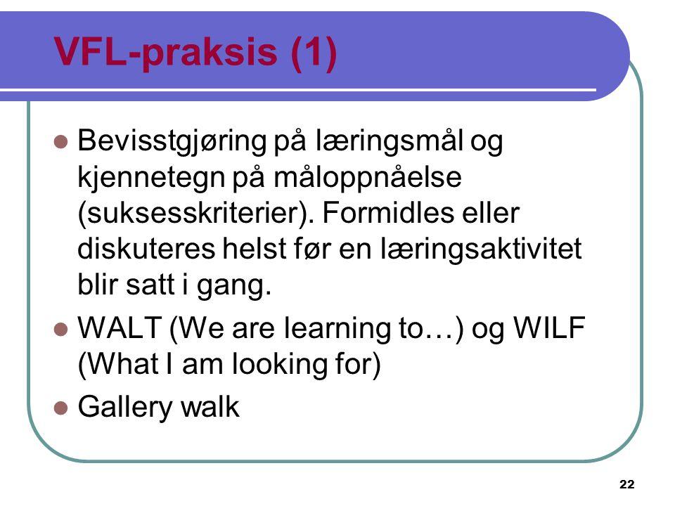 22 VFL-praksis (1) Bevisstgjøring på læringsmål og kjennetegn på måloppnåelse (suksesskriterier). Formidles eller diskuteres helst før en læringsaktiv