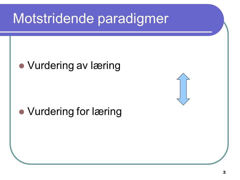 3 Motstridende paradigmer Vurdering av læring Vurdering for læring