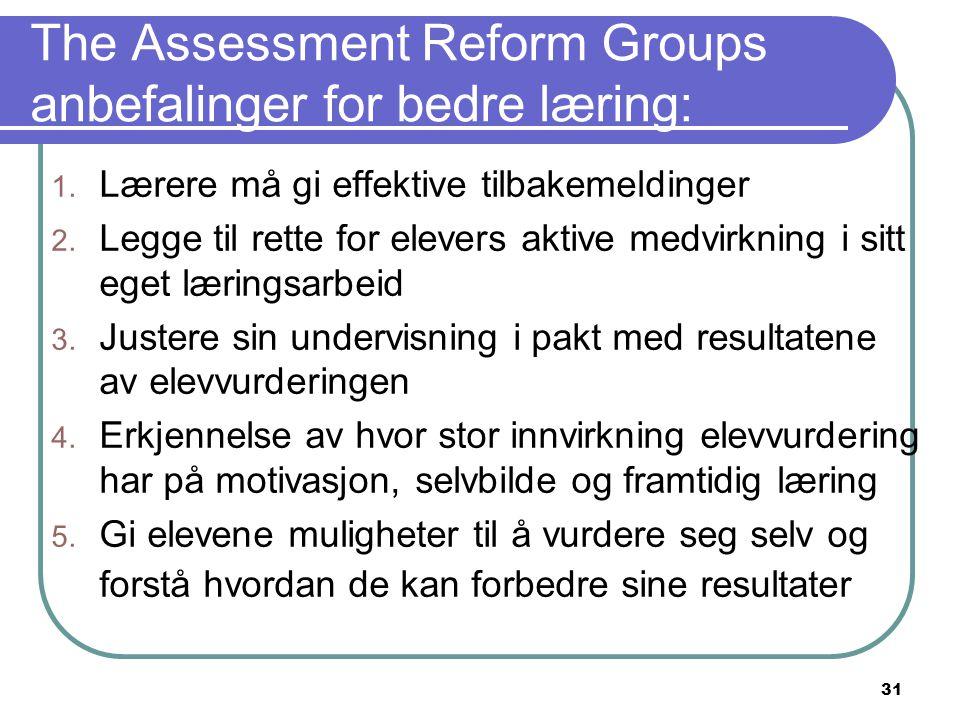 31 The Assessment Reform Groups anbefalinger for bedre læring: 1. Lærere må gi effektive tilbakemeldinger 2. Legge til rette for elevers aktive medvir