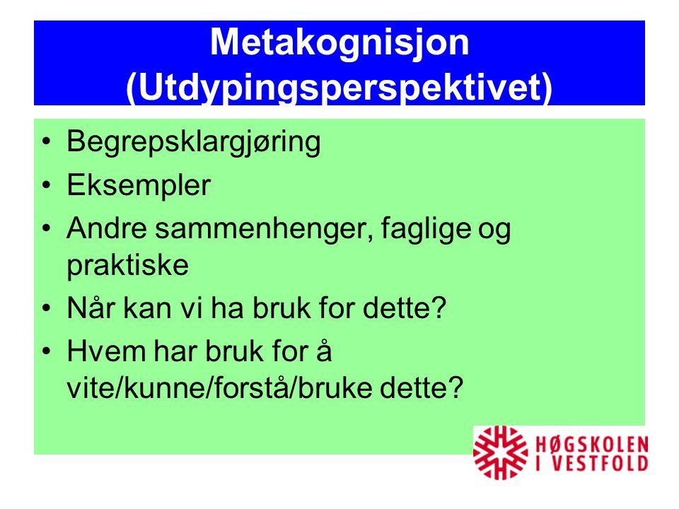 Metakognisjon (Utdypingsperspektivet) Begrepsklargjøring Eksempler Andre sammenhenger, faglige og praktiske Når kan vi ha bruk for dette? Hvem har bru