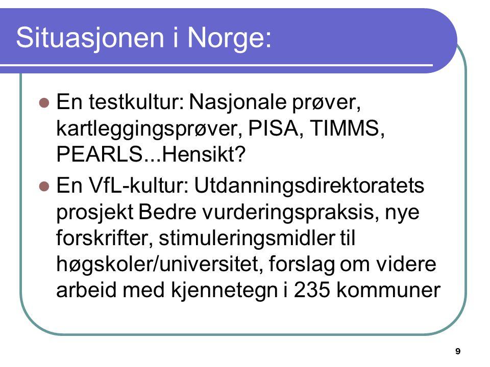 9 Situasjonen i Norge: En testkultur: Nasjonale prøver, kartleggingsprøver, PISA, TIMMS, PEARLS...Hensikt? En VfL-kultur: Utdanningsdirektoratets pros